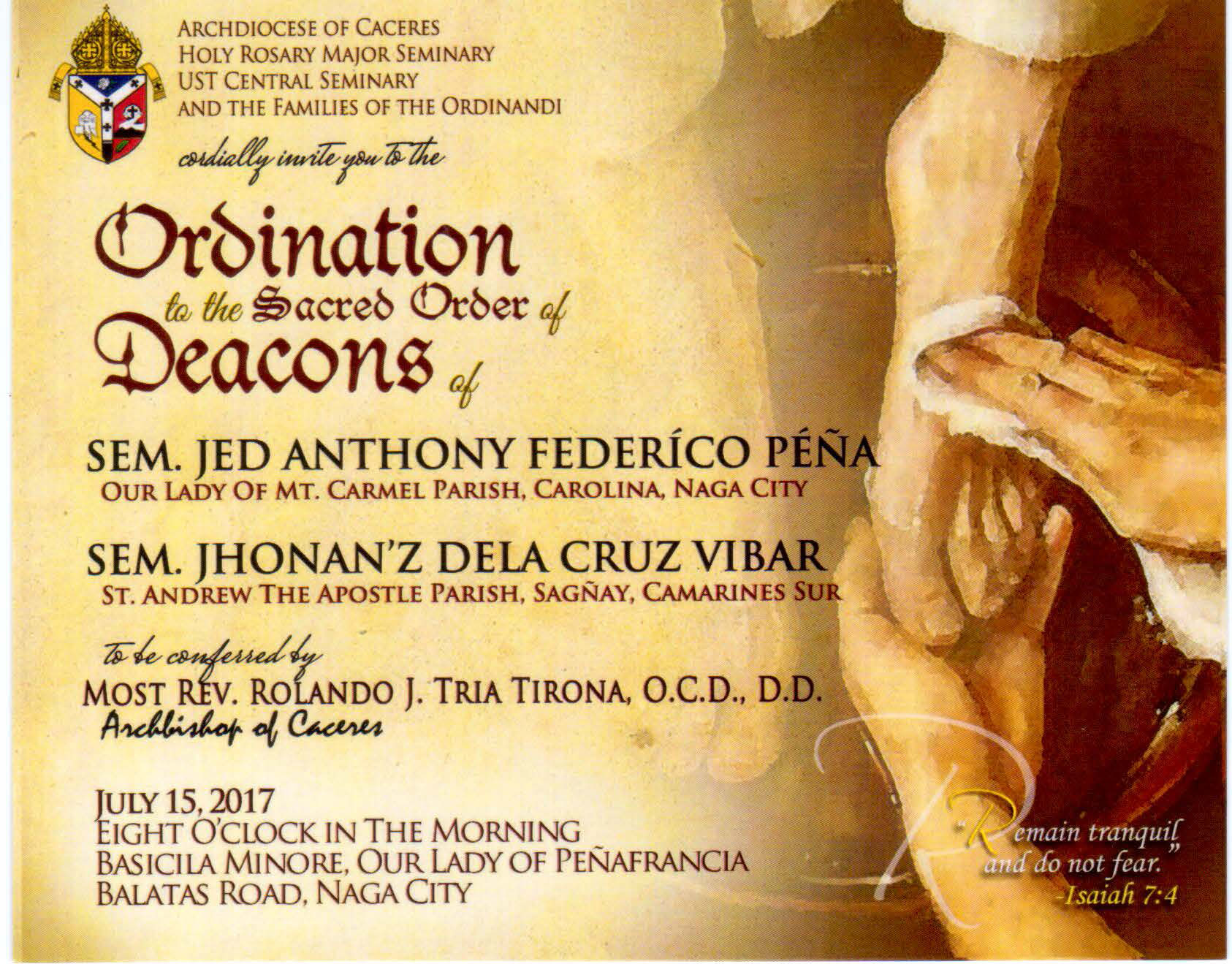 ORDINATION OF SEM JED PENA