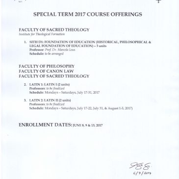 Special Term 2017 Course Offering