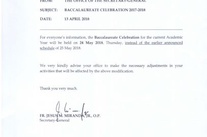 BACCALAUREATE CELEBRATION AY 2017-2018