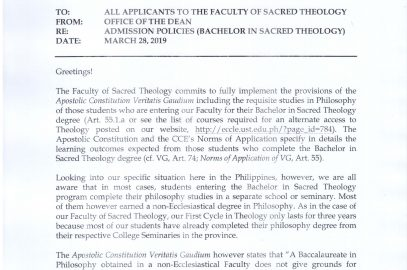Admission Policies (Bachelor in Sacred Theology)
