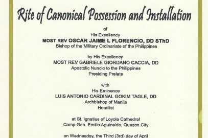 Rite Canonical Possession and Installation of Most Rev. Oscar Jaime L. Florencio, DD, S.Th.D.