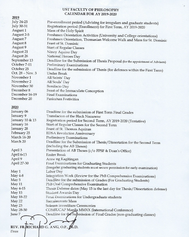 FACULTY OF PHILOSOPHY CALENDAR AY 2019-2020