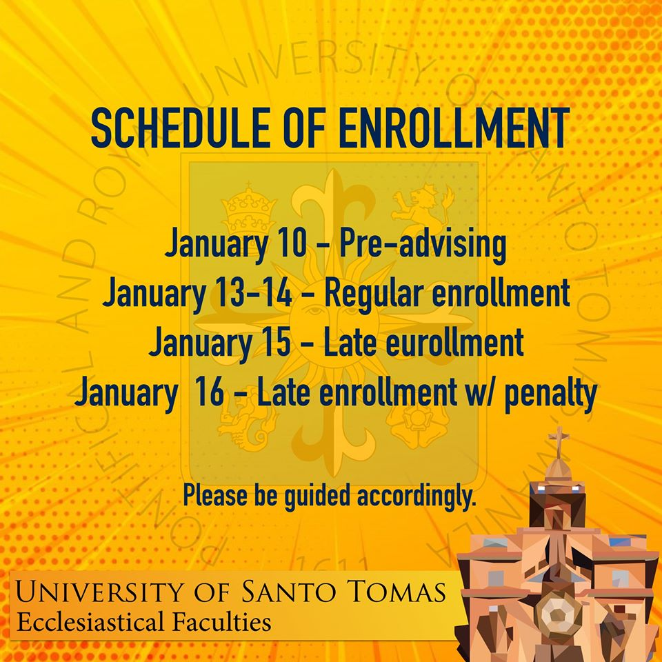 Enrollment Schedule for 2nd Term AY 2019-2020